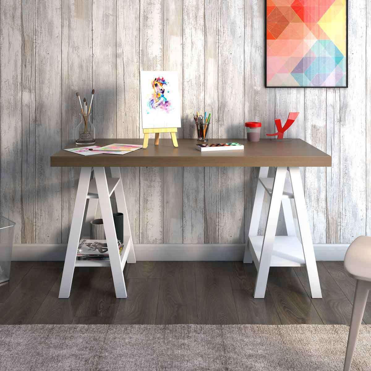 Bureau Avec Treteaux Style Atelier Art
