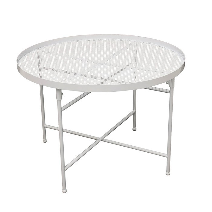 petite table en metal perforé blanc latino