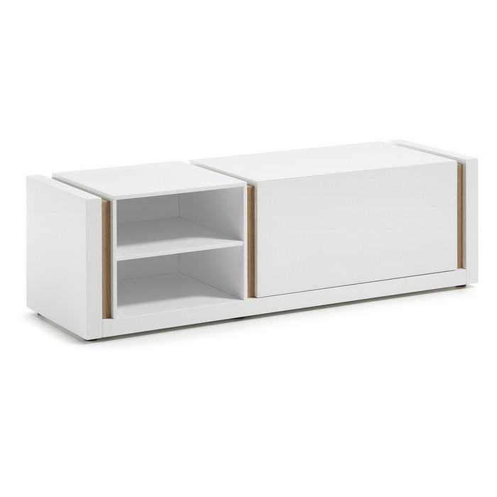 meuble tv blanc bois collection holly