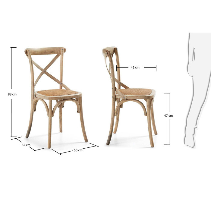 assise osier chaise bistrot en bois wood blanc