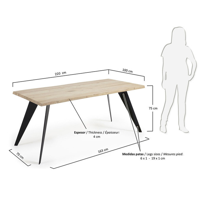Dimensions Table Edna 220cm